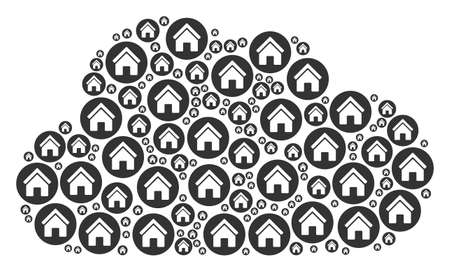 Cloud mosaic formed from real estate components in variable sizes. Abstract vector storage illustration. Real estate icons are formed into cloud shape.  イラスト・ベクター素材