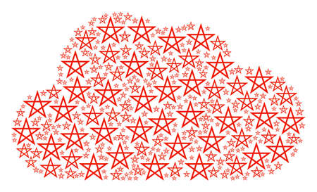 Cloud figure created of star pentagram pictograms in variable sizes. Abstract vector bubble concept. Star pentagram icons are arranged into cloud shape.