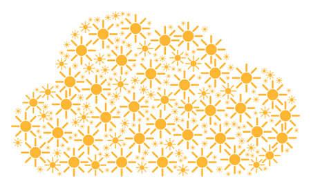 Mosaico de nubes formado por objetos solares de diferentes tamaños. Concepto de red de vector abstracto. Los iconos del sol se combinan en forma de nube.