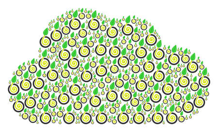 Cloud shape formed with seed sprout elements in various sizes. Abstract vector storage illustration. Seed sprout icons are organized into cloud shape.