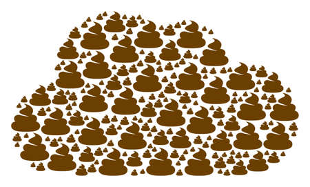 Cloud shape made from shit items in various sizes. Abstract vector network concept. Shit icons are grouped into cloud figure.