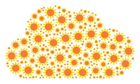 Cloud collage composed with sun items in different sizes. Abstract vector air representaion. Sun icons are arranged into cloud shape.