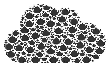 Cloud figure constructed with teapot elements in different sizes. Abstract vector web representaion. Teapot icons are arranged into cloud shape. Ilustração