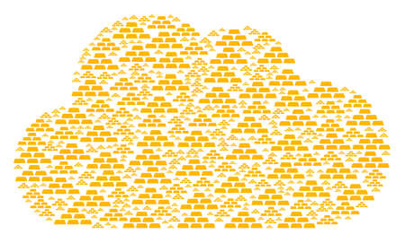 Cloud mosaic made from treasure bricks items in different sizes. Abstract vector storage illustration. Treasure bricks icons are arranged into cloud figure.