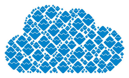 Cloud composition formed with Waves currency items in variable sizes. Abstract vector gas concept. Waves currency icons are grouped into cloud figure.