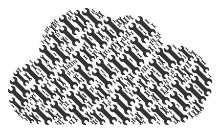 Cloud figure constructed with wrench components in variable sizes. Abstract vector bubble concept. Wrench icons are grouped into cloud figure. Illustration