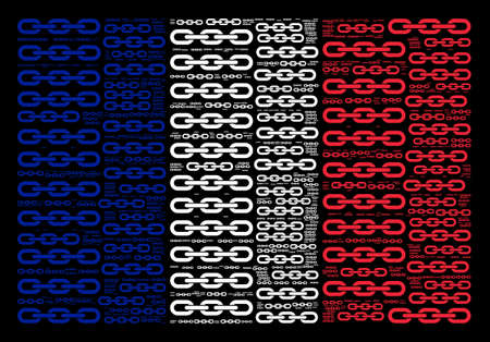 French state flag concept organized of chain pictograms on a black background. Vector chain design elements are organized into conceptual French Republic flag collage.