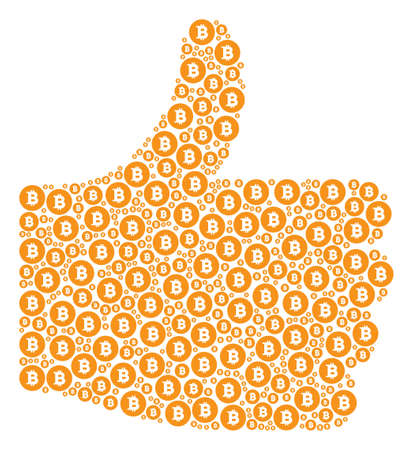 Thumb up figure composed with Bitcoin coin pictograms in different sizes. Abstract vector thumb finger up illustration. Bitcoin coin icons are united into success figure.