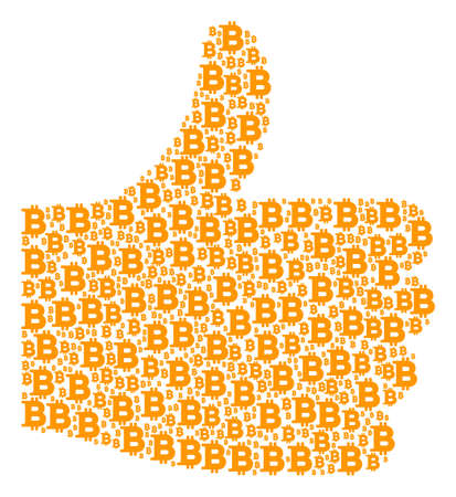 Good mark shape made from Bitcoin components in different sizes. Abstract vector thumb up illustration. Bitcoin icons are combined into approval shape.