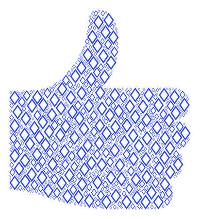 Satisfaction composition created with contour rhombus components in various sizes. Abstract vector thumb up representaion. Contour rhombus icons are arranged into satisfaction figure.