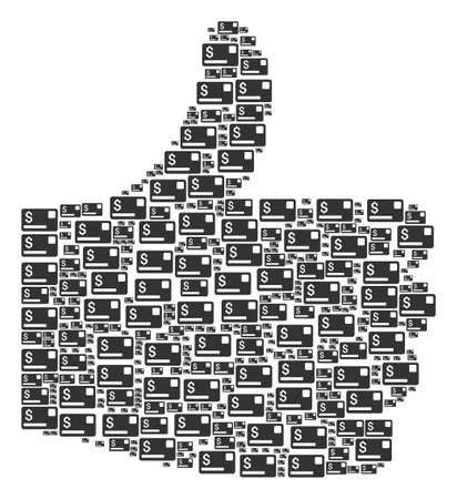 Thumb finger up composition constructed with credit card pictograms in different sizes. Abstract vector thumb up representaion. Credit card icons are organized into yes shape.