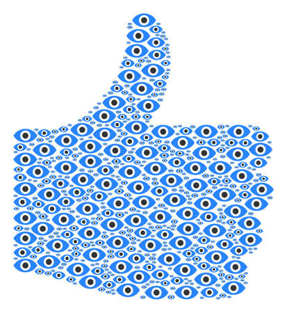 Proceed symbol collage built with eye objects in variable sizes. Abstract vector thumb finger up illustration. Eye icons are arranged into thumb finger up figure. Illustration