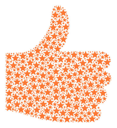 Good mark figure created with five pointed star icons in various sizes. Abstract vector thumb finger up concept. Five pointed star icons are grouped into vote figure.