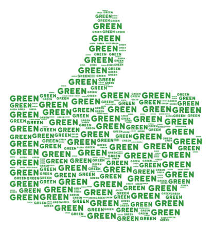 Good reputation figure created from green text objects in variable sizes. Abstract vector thumb finger up representaion. Green texts are united into good reputation shape.