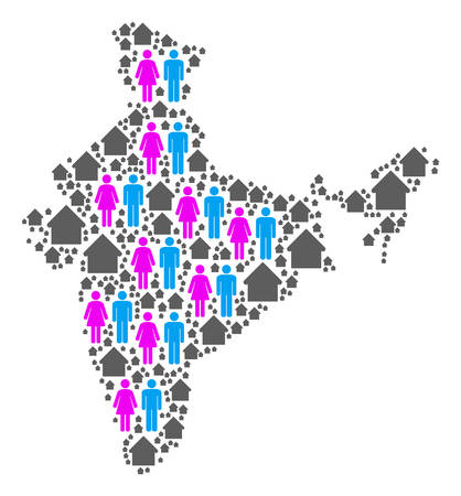 Population India map. Household vector mosaic of India map formed of randomized person and realty items in different sizes. Abstract social scheme of national mass cartography.