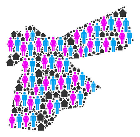 Population Jordan map. Household vector collage of Jordan map made of scattered man and woman and property elements in different sizes. Abstract social representation of national group cartography. Illustration
