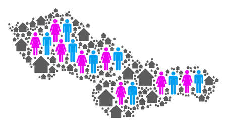 Population Czechoslovakia map. Household vector abstraction of Czechoslovakia map made of scattered lady and gentleman and building elements in variable sizes.
