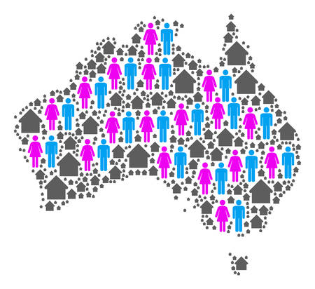 Population Australia map. Household vector composition of Australia map created of randomized gender and real estate items in various sizes.