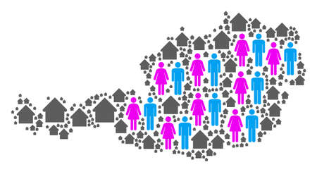 Population Austria map. Household vector mosaic of Austria map formed of randomized person and house items in different sizes. Abstract social scheme of national mass cartography.