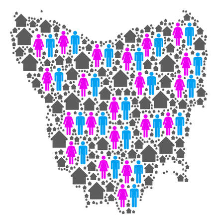 Population Tasmania Island map. Household vector abstraction of Tasmania Island map designed of randomized people and habitation items in variable sizes.