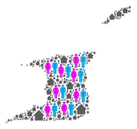 Population Trinidad and Tobago map. Household vector concept of Trinidad and Tobago map constructed of random lady and gentleman and realty elements in variable sizes.