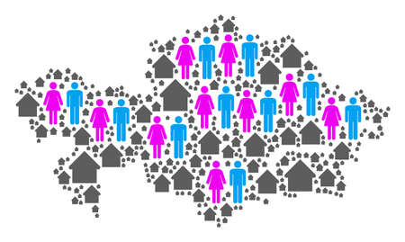 Population Kazakhstan map. Household vector pattern of Kazakhstan map composed of scattered person and residence elements in different sizes.