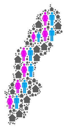 Population Sweden map. Household vector collage of Sweden map formed of scattered men and woman and building items in different sizes. Abstract social presentation of nation mass cartography.