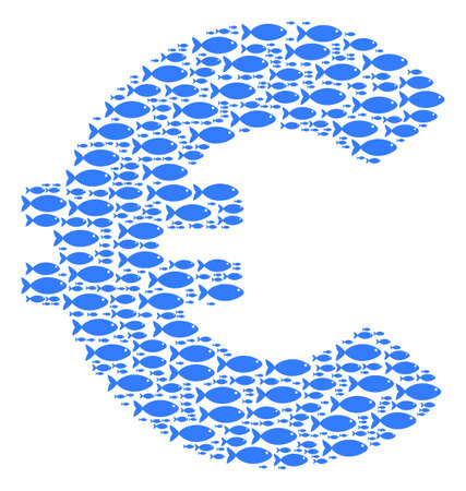 Euro vector composition composed from randomized fish objects in variable sizes. Fish icons are organized into abstract Euro vector illustration. Illustration