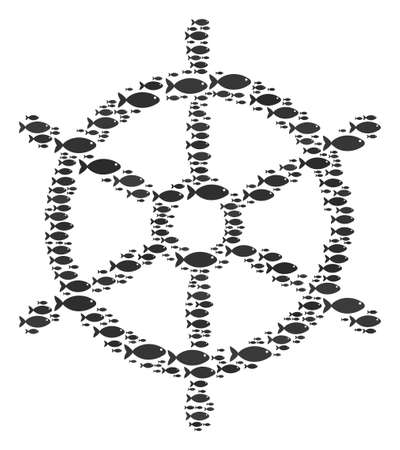 Boat steering wheel vector figure made from scattered fish elements in heterogeneous sizes. Fish icons are grouped into abstract boat steering wheel concept.