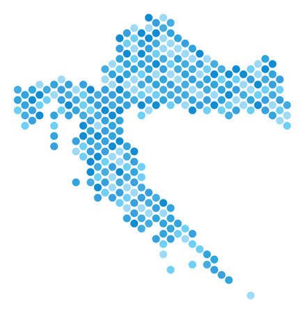 Blue round spot Croatia map. Vector geographic map in blue color hues on a white background. Vector mosaic of Croatia map made of sphere pixel matrix.
