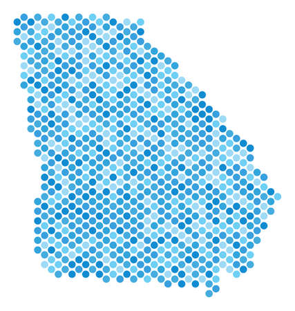 Blue circle dot American State Georgia map. Vector geographic map in cold blue color tinges on a white background. Vector collage of American State Georgia map constructed of sphere element matrix.