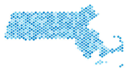 Blue dotted Massachusetts State map. Vector geographic map in blue color tones on a white background. Vector mosaic of Massachusetts State map composed of sphere dot matrix.