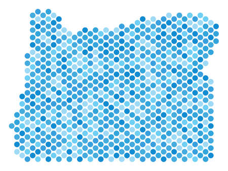Blue round spot Oregon State map. Vector geographic map in blue color variations on a white background. Vector composition of Oregon State map combined of spheric point array.