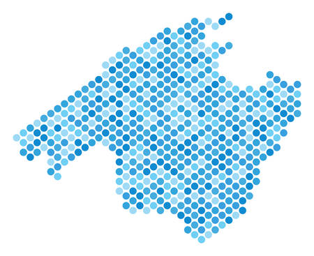 Blue round spot Spain Mallorca Island map. Vector geographic map in cold blue color shades on a white background. Vector composition of Spain Mallorca Island map done of circle dot pattern.