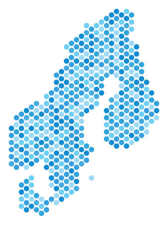 Blue pixelated Scandinavia map. Vector geographic map in blue color tints on a white background. Vector concept of Scandinavia map created of spheric element matrix.