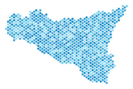 Blue dotted Sicilia map. Vector geographic map in blue color tinges on a white background. Vector composition of Sicilia map done of round point array.