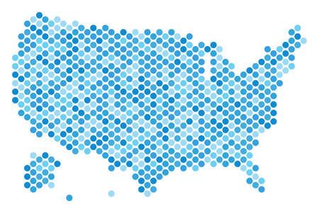 Blue dotted USA with Alaska map. Vector geographic map in cold blue color tinges on a white background. Vector mosaic of USA with Alaska map designed of sphere point array.