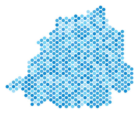 Blue pixelated Vatican map. Vector geographic map in blue color shades on a white background. Vector mosaic of Vatican map combined of circle blot pattern.