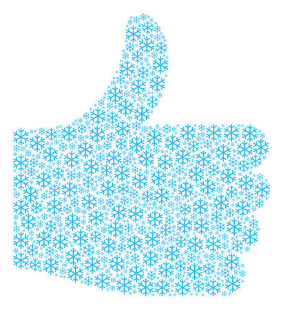 Good reputation figure made with snowflake components in variable sizes. Abstract vector thumb finger up concept. Snowflake icons are organized into poll figure. Ilustração