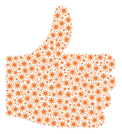 Satisfaction shape created with sun pictograms in various sizes. Abstract vector thumb finger up representaion. Sun icons are united into right choice figure.