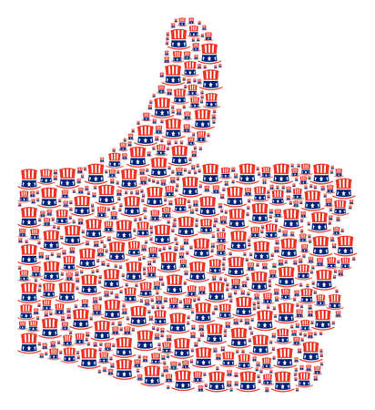 Positive gesture collage built with Uncle Sam hat pictograms in different sizes. Abstract vector thumb finger up representaion. Uncle Sam hat icons are arranged into done figure.