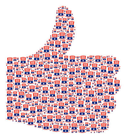 Thumb finger up shape built with Uncle Sam hat components in different sizes. Abstract vector thumb finger up illustration. Uncle Sam hat icons are united into good decision figure.