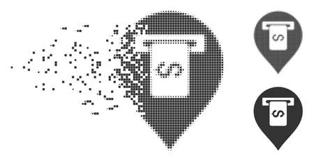 Dissolved cash terminal pointer pixel icon with disintegration effect. Halftone dotted and undamaged entire gray versions are included.