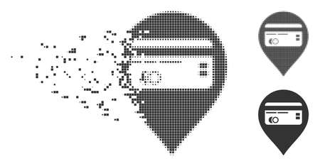 Dissolved credit card pointer pixel icon with disintegration effect. Halftone pixelated and intact solid gray variants are included. Illustration