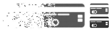 Dissolved credit card pixel icon with disintegration effect. Halftone dotted and intact solid grey versions are included. Rectangle dots are composed into disappearing credit card figure.