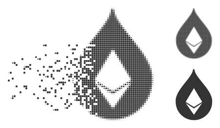 Dispersed Ethereum drop pixel icon with disintegration effect. Halftone dotted and intact whole grey versions are included. Square particles are combined into dispersed Ethereum drop figure. Illustration
