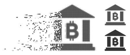 Dissolved Bitcoin bank building pixel icon with disintegration effect. Halftone dotted and undamaged entire gray versions are included.