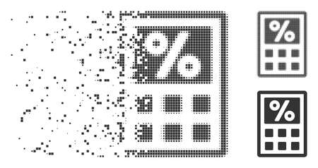 Fractured tax calculator pixel icon with disintegration effect. Halftone pixelated and undamaged solid grey variants. Dots have rectangle shape. Illusztráció