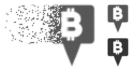 Dissolved Bitcoin map pointer pixel icon with disintegration effect. Halftone dotted and undamaged solid gray variants. Dots have rectangular shape. Illustration
