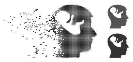 Icône en pointillé tête d'esprit d'embryon dissous avec effet de désintégration. Variantes de gris unies en pointillés et intactes en demi-teinte. Les points ont une forme rectangulaire.